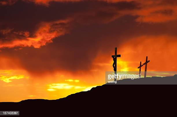 good friday in dramatic color - the crucifixion stock pictures, royalty-free photos & images