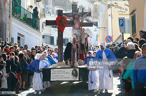Good Friday procession during the Easter Holy week where penitents carry the statues of Dead Christ and the Virgin Mary with the representations of...