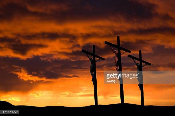 good friday  ... three crosses - good friday stock pictures, royalty-free photos & images
