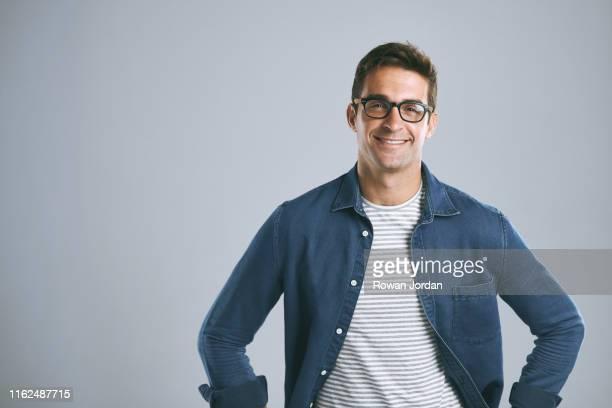good glasses make you feel more confident - fascinante imagens e fotografias de stock