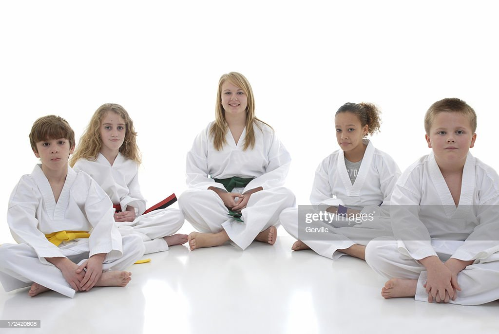Good group of martial arts kids : Stock Photo