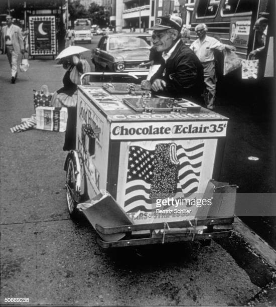 Good Humor ice cream vendor's cart advertising special Stars Stripes bar celebrating US Bicentennial