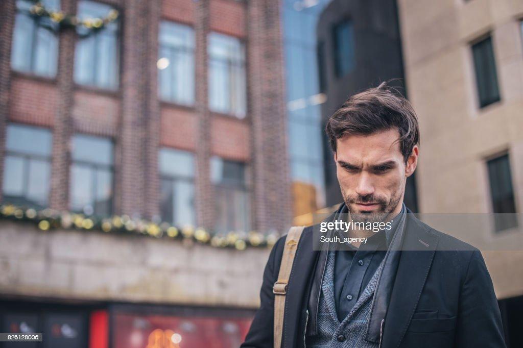 Good looking man downtown : Stock Photo