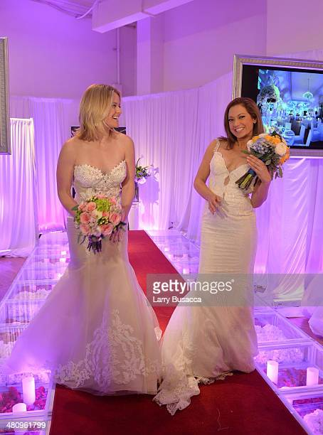 Good Morning America S Sara Haines And Ginger Zee Are Seen In Wedding Dresses During The New