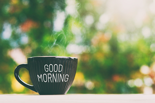 Good morning greeting a cup of coffee 1066261798