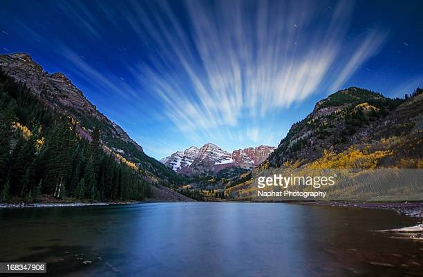 good morning maroon bells - maroon bells stock photos and pictures