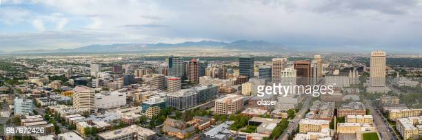 good morning salt lake city! in utah, seen from air, panorama - salt lake city utah stock photos and pictures