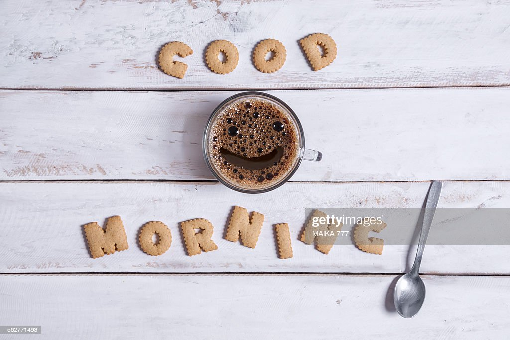 Good morning, spelled with alphabet cookies : Stock Photo