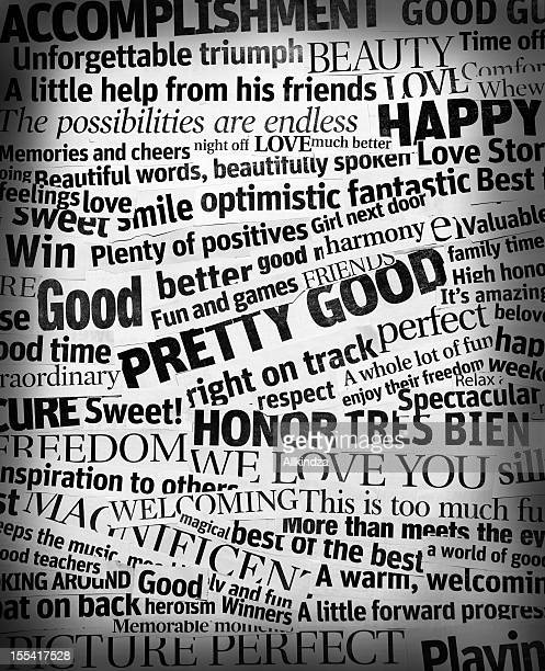 good news headline collage vert xl - single word stock pictures, royalty-free photos & images