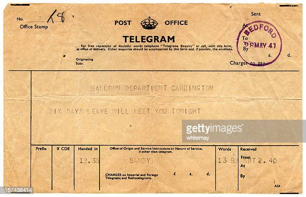 Good news telegram to Cardington, 1941