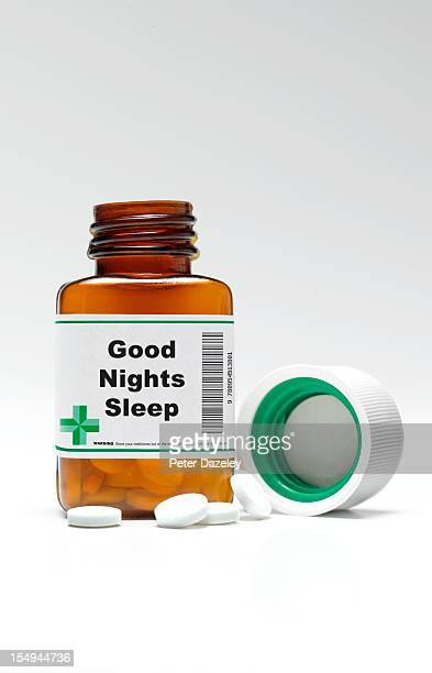 Good night sleep pill bottle and pills