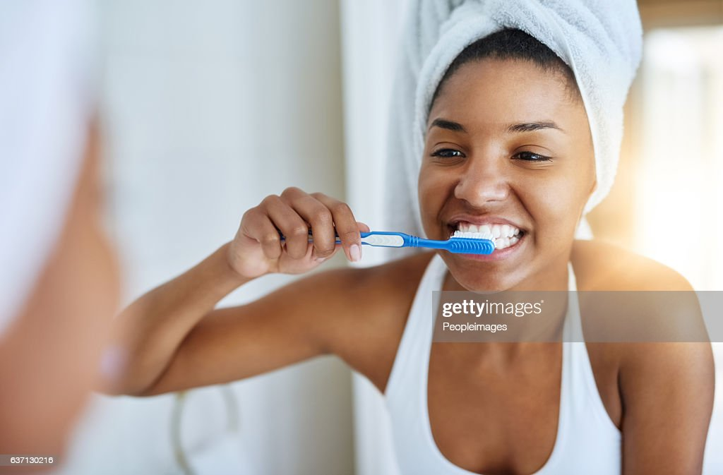 Good oral hygiene begins every morning : Foto de stock