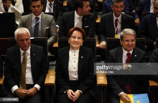 Good Party Chairman Meral Aksener attends the 2nd extraordinary congress of the party in Ankara on August 13 2018