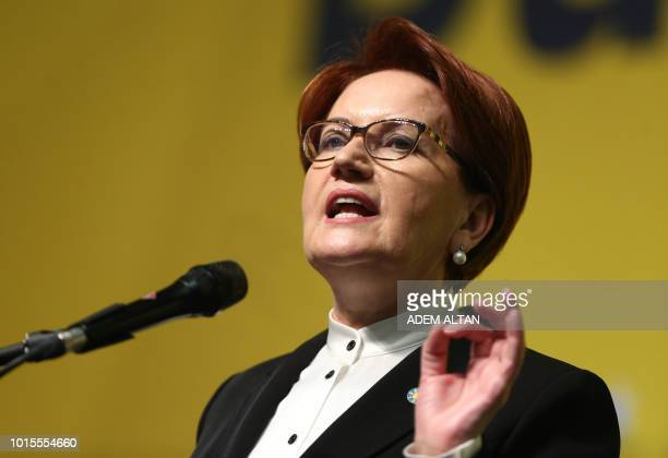 Good Party Chairman Meral Aksener delivers a speech at the 2nd extraordinary congress of the party in Ankara on August 13 2018