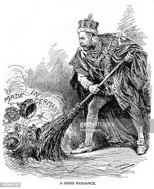 'A Good Riddance' First World War 19141918 Cartoon that originally appeared in Punch showing King George V abolishing the German title held by...