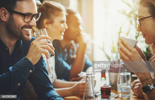 good times at a restaurant. - restaurant stock photos and pictures