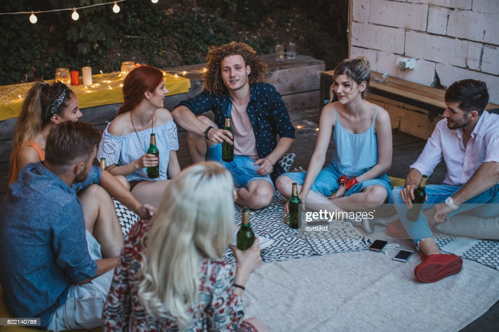 Good times with the gang : Stock Photo