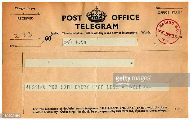Good wishes telegram from 1935