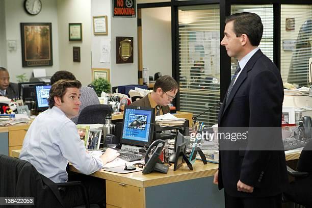"""Goodbye Michale, Part 2"""" Episode 722 -- Pictured: John Krasinski as Jim Halpert, Rainn Wilson as Dwight Schrute, Steve Carell as Michael Scott"""