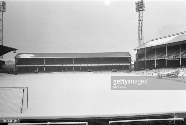 Goodison Park, home ground of Everton football club, covered in snow the day before their match is called off. 7th February 1969.