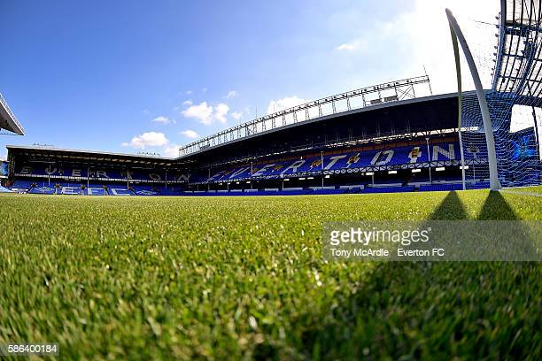 Goodison park is ready for the preseason match between Everton and Espanyol at Goodison Park on August 6 2016 in Liverpool England