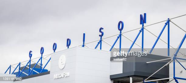 goodison signage above the park end stand of everton fc - liverpool v everton premier league stock pictures, royalty-free photos & images