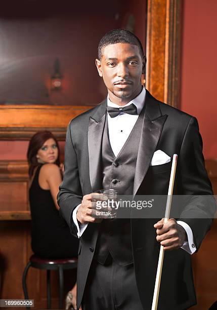Goodlooking Afro American man in tuxedo.