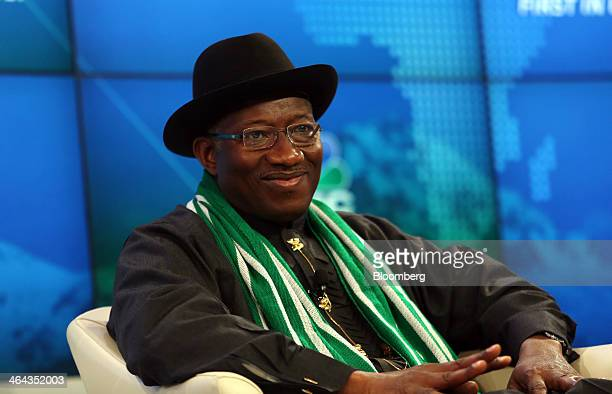 Goodluck Jonathan Nigeria's president pauses during a session on the opening day of the World Economic Forum in Davos Switzerland on Wednesday Jan 22...