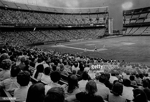 JUL 04 1977 JUL 5 1977 Goodly gathering of 22016 who viewed Denver Bears Explosion and the ensuing fireworks Baseball Denver Bears Fans