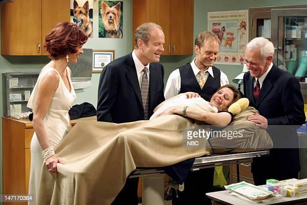FRASIER Goodnight Seattle Episode 21 Pictured Wendie Malick as Ronee Lawrence Kelsey Grammer as Dr Frasier Crane David Hyde Pierce as Dr Niles Crane...