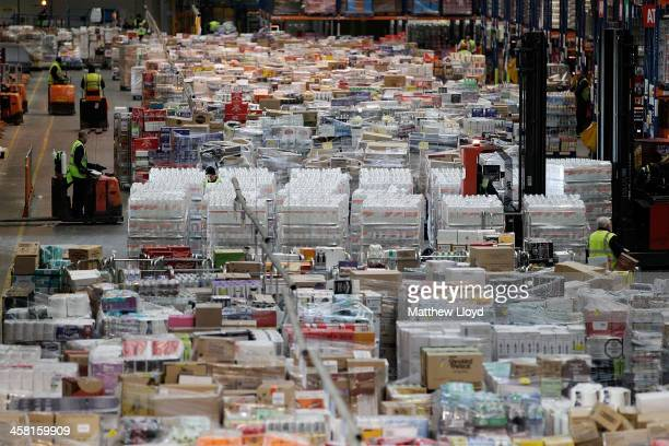Goods are sorted in in the Sainsbury's Waltham Point Distribution Centre on December 20 2013 in Waltham Abbey England This weekend is predicted to be...