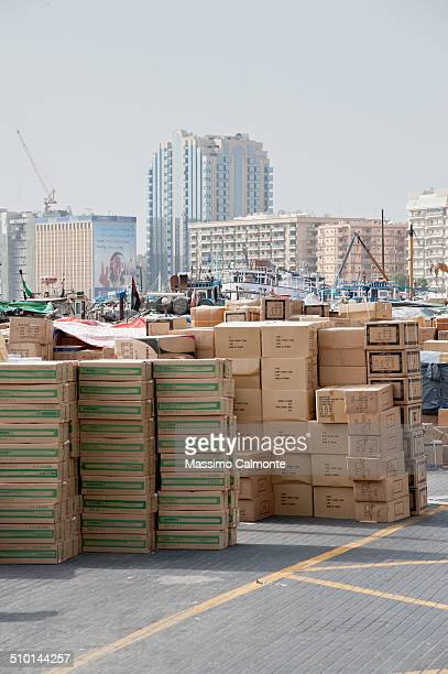 Goods deposited at the old port of Dubai Creek