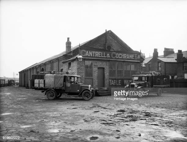 Goods Shed West Lancashire Station Fishergate Hill Preston Lancashire 1927 Two vans parked outside the Cantrell and Cochrane depot Photographed in...