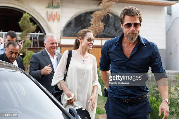 Goodwill Ambassador actress Angelina Jolie and partner Brad Pitt spend time at a hotel after visiting an Iraqi refugee family living in a suburb on...