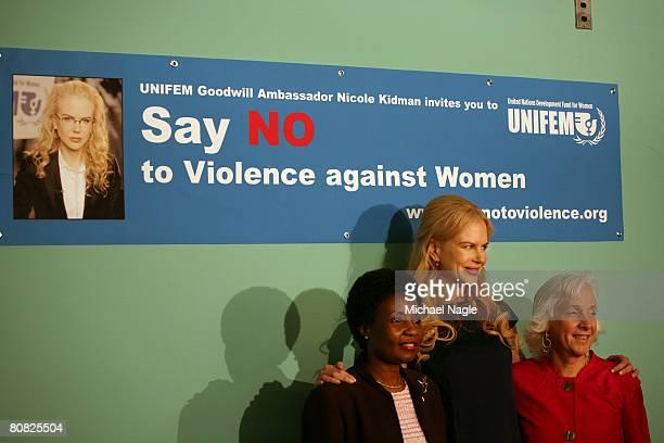 Goodwill Ambassador, actress Nicole Kidman , UN Deputy-Secretary-General Asha-Rose Migiro and Executive Director of UNIFEM Joanne Sandler pose at a...