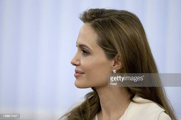 Goodwill Ambassador Angelina Jolie looks on before a meeting at the Federal Foreign Office on February 10 2012 in Berlin Germany Jolie German Foreign...