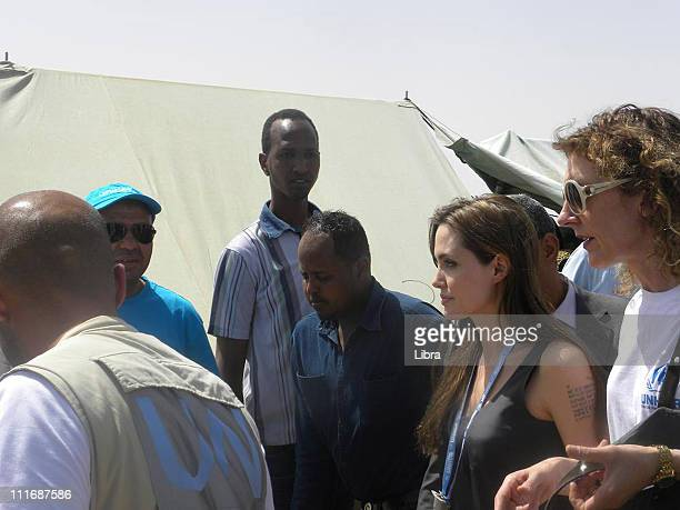 Goodwill Ambassador Angelina Jolie visits the Choucha refugee camp a few kilometers from the Libyan border on April 5 2011 in Ras Jdir Tunisia