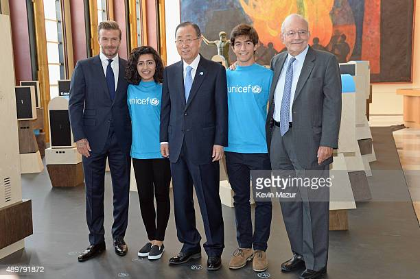 Goodwill Ambassador David Beckham, United Nations Secretary-General Ban Ki-moon, UNICEF Executive Director Anthony Lake and two young people from...