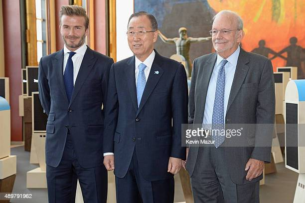 Goodwill Ambassador David Beckham, United Nations Secretary-General Ban Ki-moon, and UNICEF Executive Director Anthony Lake unveil a unique...