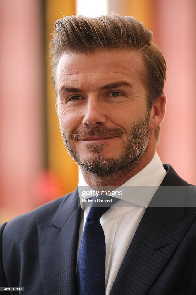 Goodwill Ambassador David Beckham unveils a digital installation to bring the voices of young people to the UN General Assembly at United Nations on September 24, 2015 in New York City.