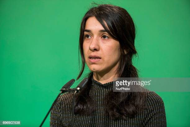 Goodwill Ambassador for the Dignity of Survivors of Human Trafficking of the United Nations Nadia Murad speaks during the federal congress of the...