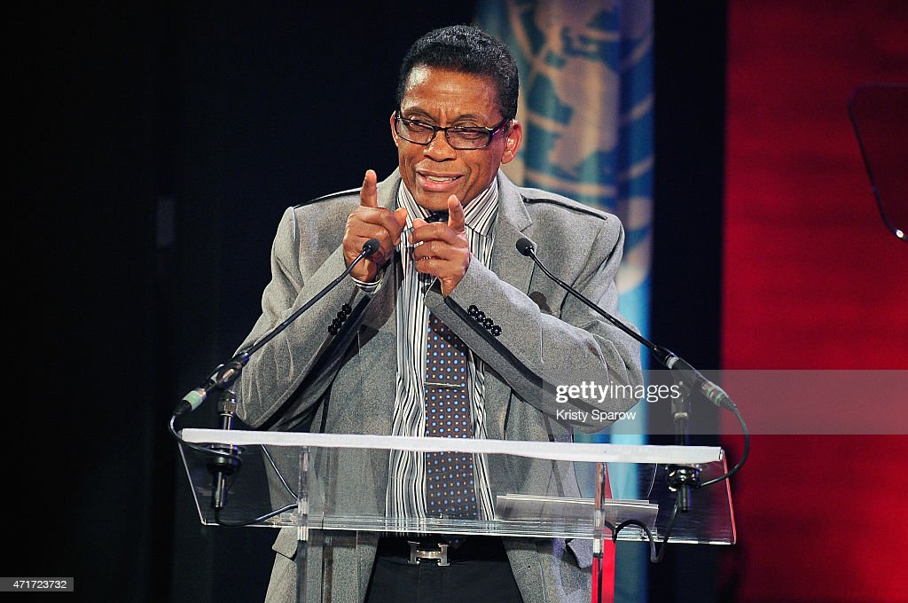 Goodwill Ambassador, Herbie Hancock speaks on stage during the International Jazz Day 2015 Global Concert at UNESCO on April 30, 2015 in Paris, France.