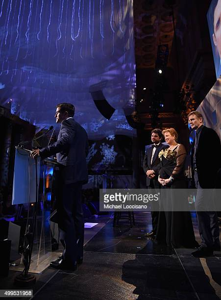 Audrey Hepburn Humanitarian Award Orlando Bloom speaks on stage with Luca Dotti UNICEF Goodwill Ambassador Liam Neeson and President and CEO US Fund...