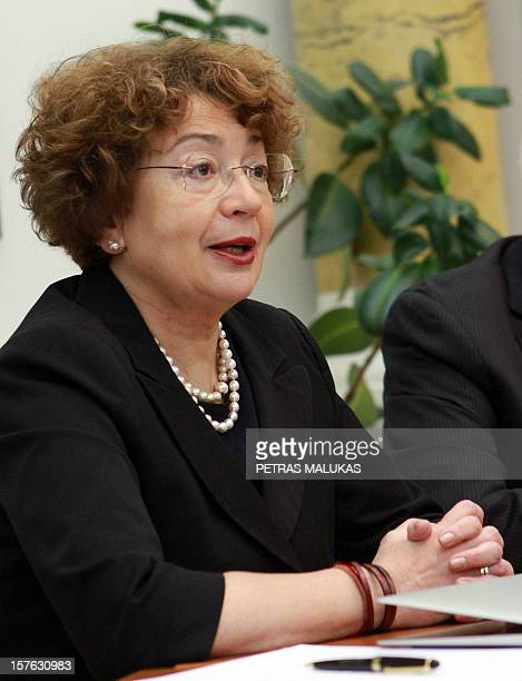 Goodwill compensation fund chairman Faina Kukliansky attends a press conference in Vilnius on December 5 2012 AFP PHOTO / PETRAS MALUKAS