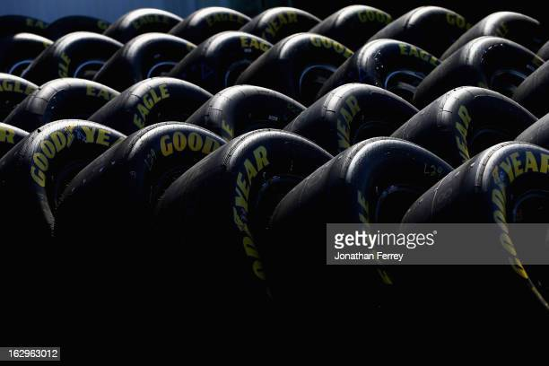Goodyear Eagle tires are seen in the garage area during practice for the NASCAR Sprint Cup Series Fresh Fit 500 at Phoenix International Raceway on...