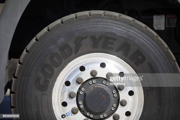 A Goodyear Tire Rubber Co tire is seen on the support mast truck for the Goodyear Wingfoot Two blimp at the company's airship base in Carson...