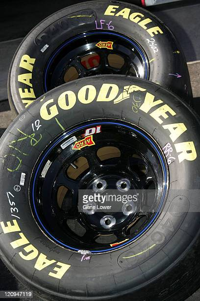 Goodyear tires lie on the ground before the NASCAR NEXTEL Cup Subway Fresh 500 qualifiying on Thursday April 20 at Phoenix International Raceway in...