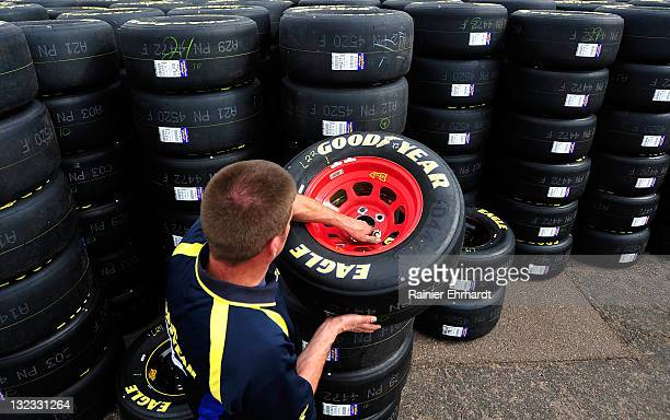 Goodyear worker stacks tires during practice for the NASCAR Sprint Cup Series Kobalt Tools 500 at Phoenix International Raceway on November 11 2011...