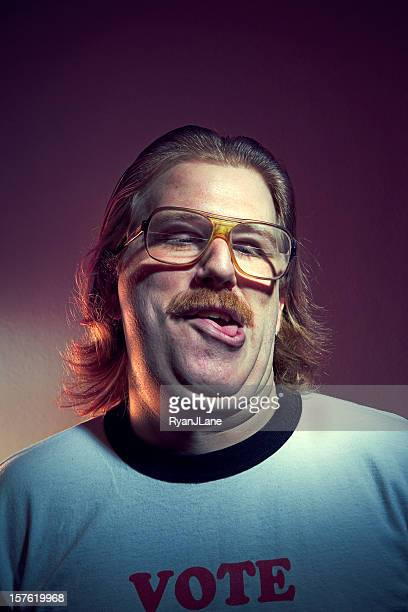 goofy guy portrait - ugly man stock photos and pictures