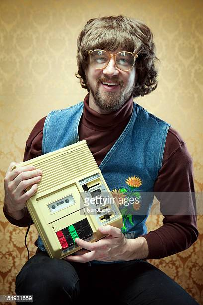 Goofy Hippy Professor with Cassette Tape Player